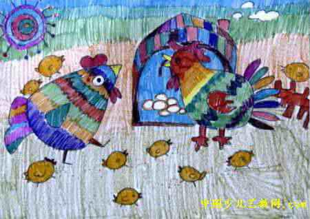 我的大家庭儿童画属于水彩画