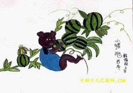 小猪抱西瓜儿童画