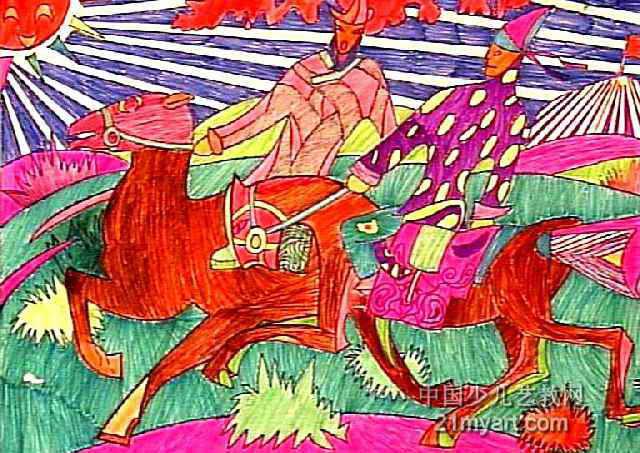 奔驰儿童画作品欣赏图片