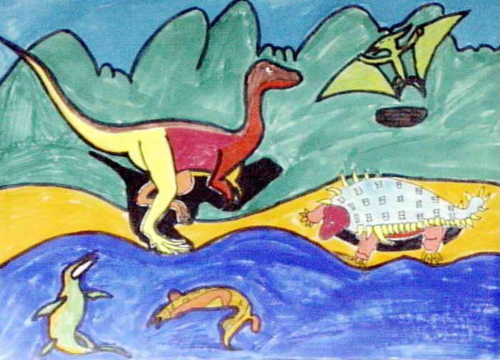 恐龙年代儿童画图片