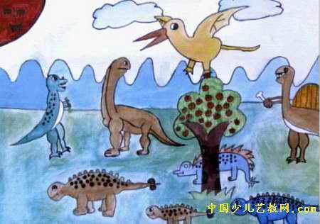 恐龙世界画画 第一名图片