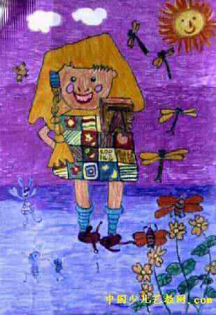 我最美儿童画,此幅水彩画大小为450x309像素