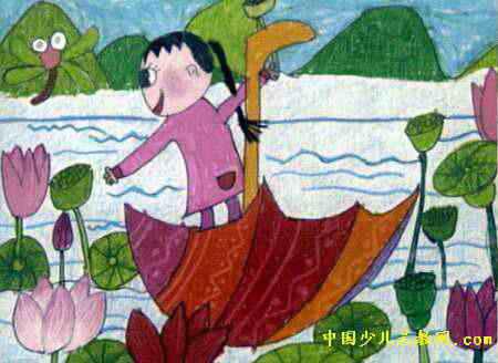 伞儿船儿童画