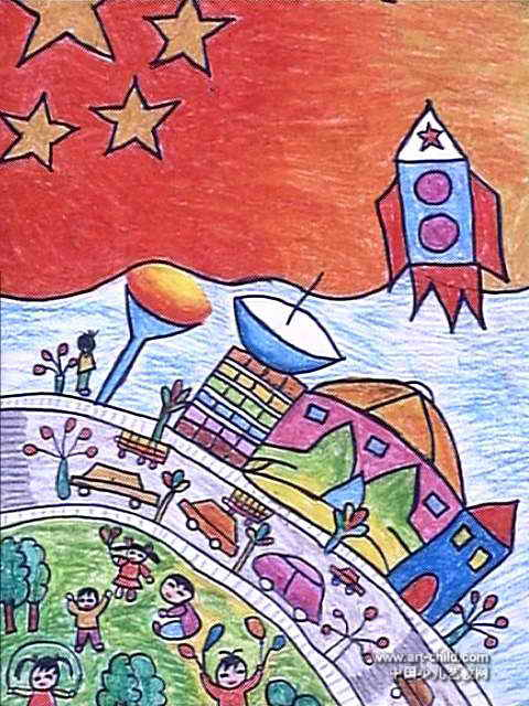 美丽的祖国儿童画2幅