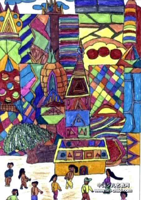 未来的家园儿童画4幅