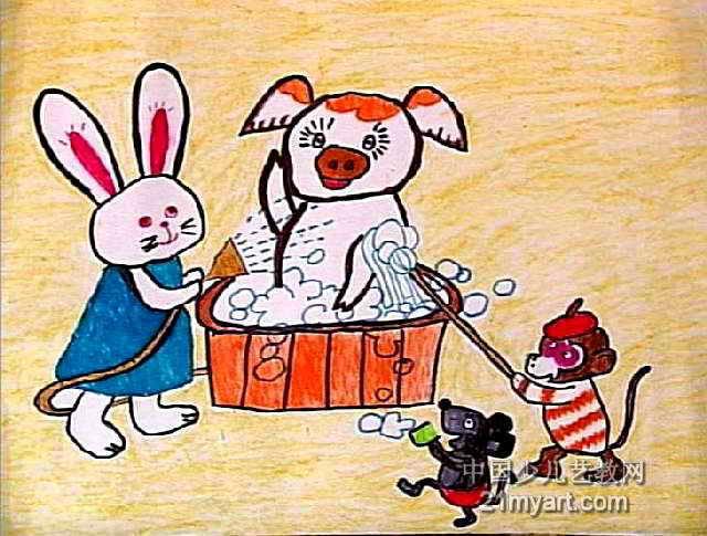 小猪洗澡儿童画作品欣赏