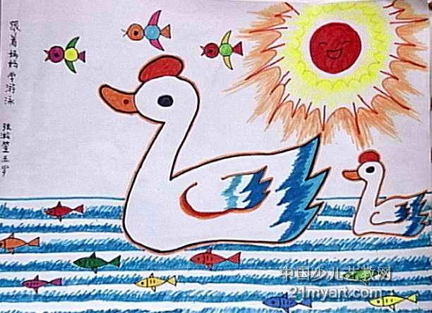 水彩画简笔画; 儿童游泳圈简笔画分享;