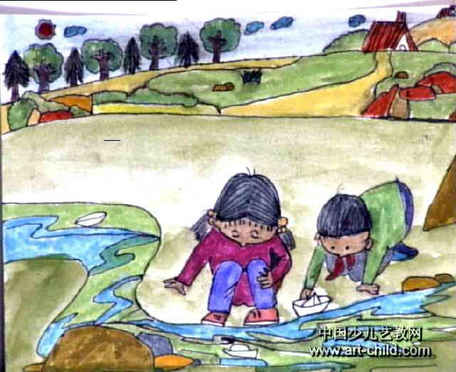 折纸船儿童画图片图片