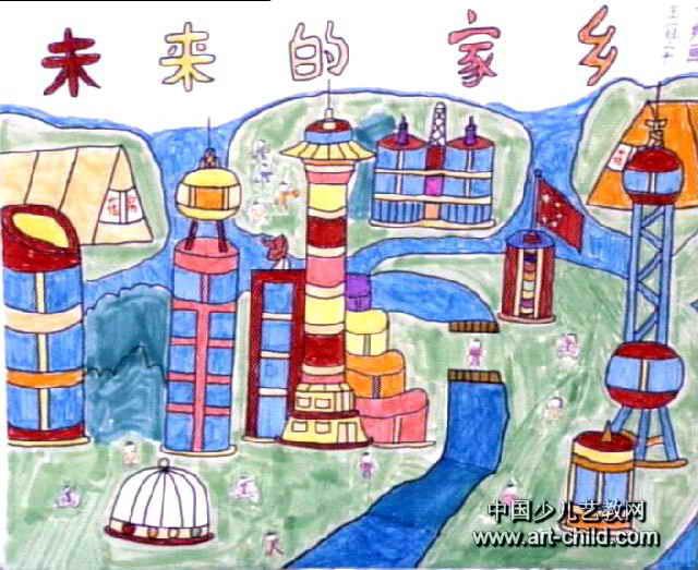 未来的家乡儿童水彩画