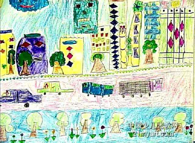 热闹的大街儿童画