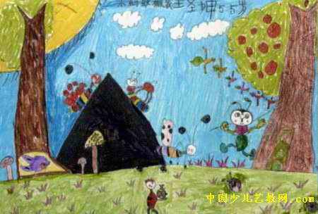 小蚂蚁搬家儿童水彩画