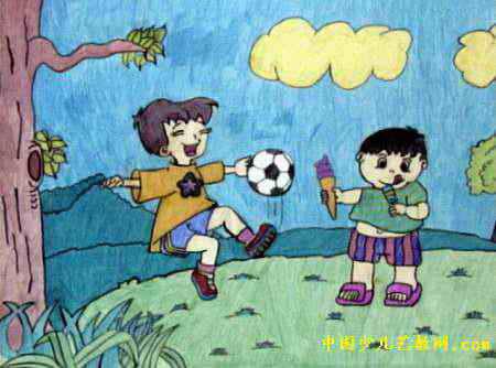 足球明星儿童画属于水彩画