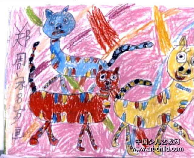 三只小花猫儿童画作品欣赏