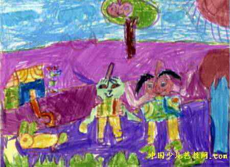 老鹰捉小鸡儿童画2幅 送给妈妈的毛线团儿童