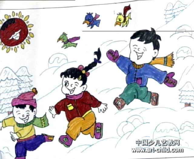 滑雪去儿童水彩画