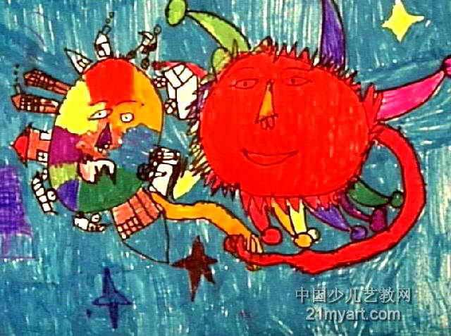 太阳和地球是朋友儿童画作品欣赏