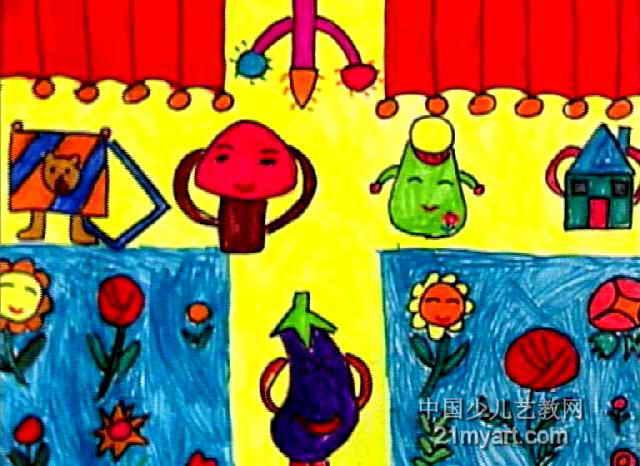书包们的表演儿童画图片