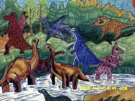 恐龙世界儿童画5幅 第2张