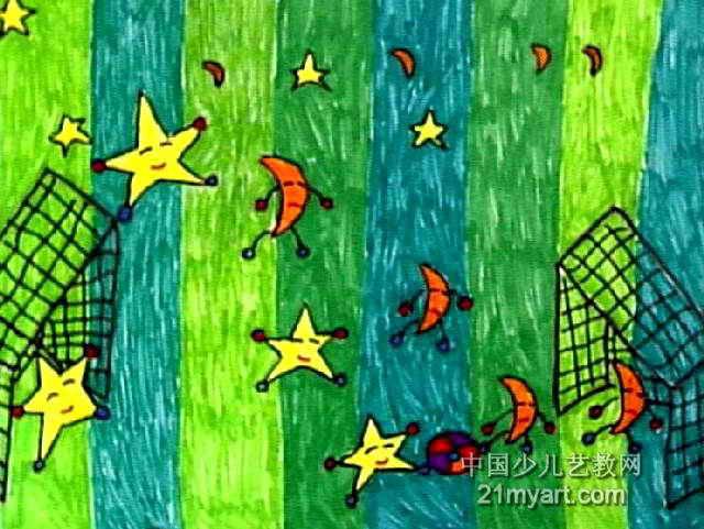 足球比赛儿童画3幅