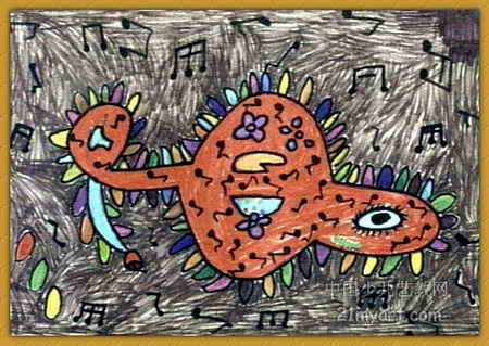 我爱音乐儿童水彩画