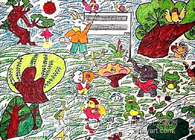 简笔画 儿童画 儿童水彩画 >> 森林音乐课儿童画作品欣赏   森林音乐图片