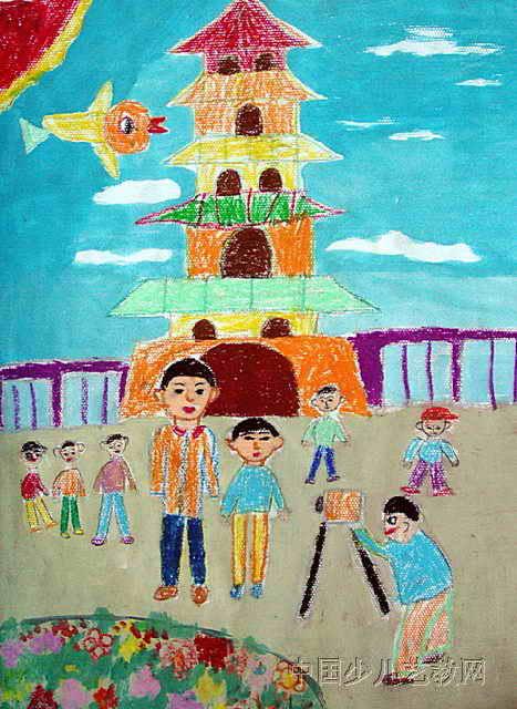 儿童油画棒简笔画_旅游儿童水彩画