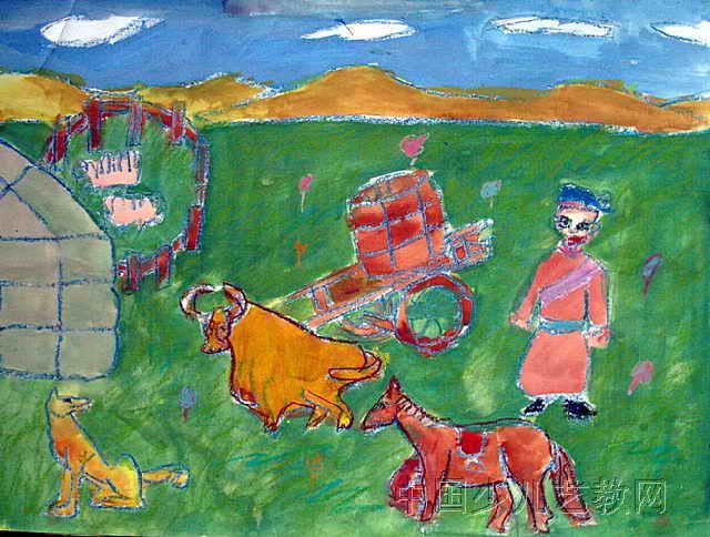 美丽草原我的家儿童画作品欣赏