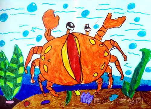 我和小鱼比游泳儿童画