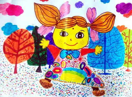 我的布娃娃儿童水彩画