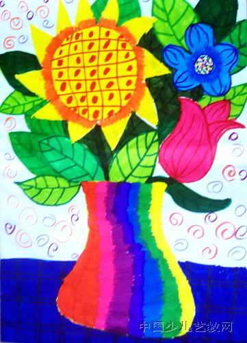 我家的花瓶儿童水彩画