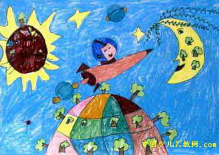 绿化地球宇宙儿童画