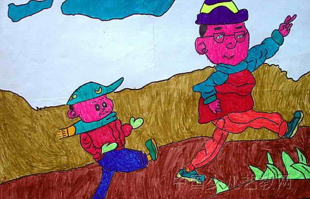 跑步儿童画,此幅水彩画尺寸为411x640像素