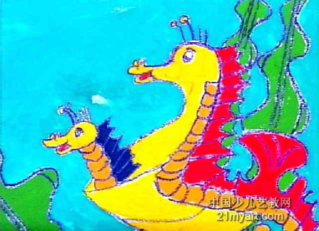 可爱的海马儿童画图片