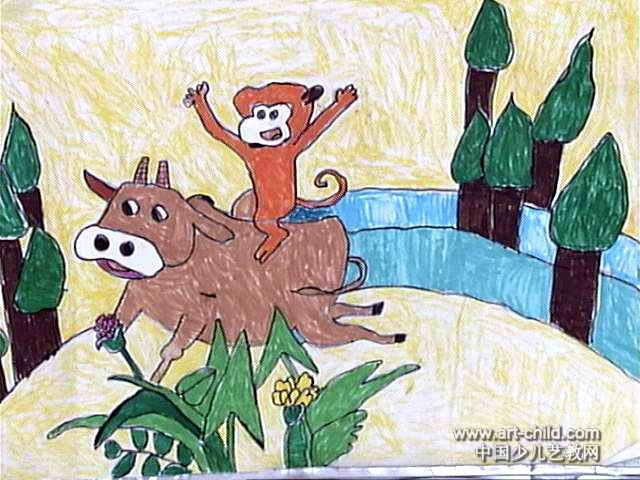 牛和 狼儿童画 图片