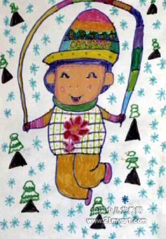 我爱跳绳儿童画2幅