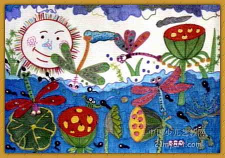 池塘边荷叶荷花儿童画展示