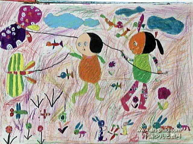 放风筝儿童画16幅 第4张图片
