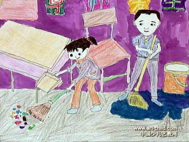 我是劳动小能手儿童水彩画