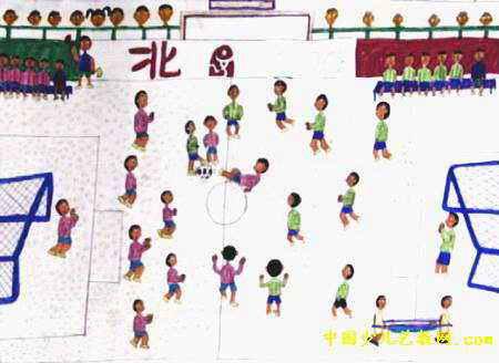 足球赛儿童画2幅