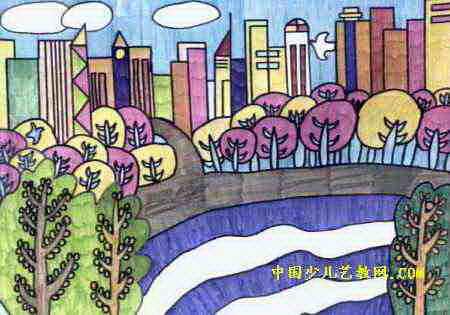美丽的城市儿童画5幅(第3张)图片