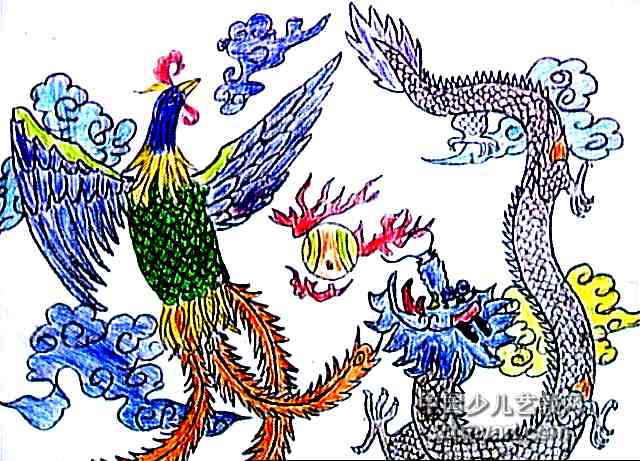 龙凤呈祥儿童水彩画