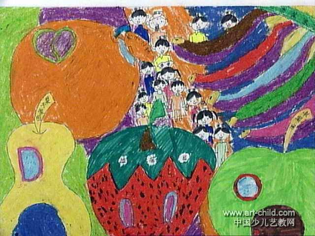 水果家族儿童水彩画,此幅水粉画尺寸为480x640像素,作者董方圆,来自郑
