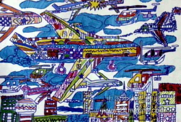 好看的飞机儿童画
