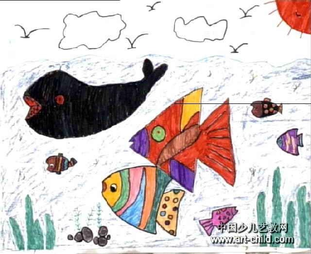 美丽的海洋儿童画属于水彩画,大小为523x640像素,作者李子涵,来自平煤