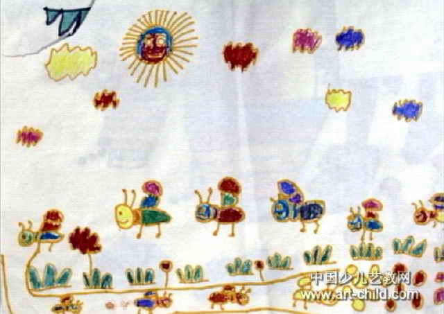 幼儿园奶牛怎么画_蚂蚁搬豆儿童画2幅