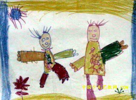 儿童画 沈子瑜/我的姑姑儿童画,此幅油画棒画尺寸为331x450像素,作者沈子瑜...
