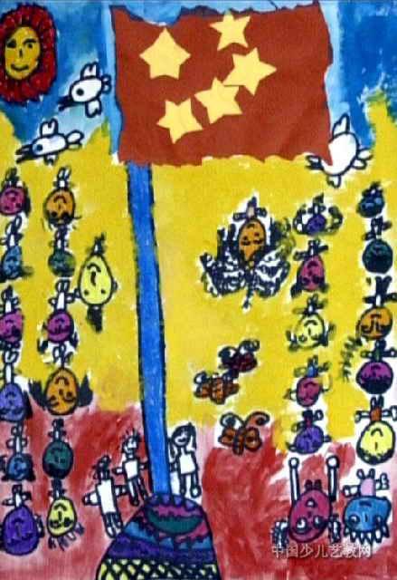 儿童画 李泊/升国旗仪式儿童画属于油画棒画,大小为640x439像素,作者李泊...