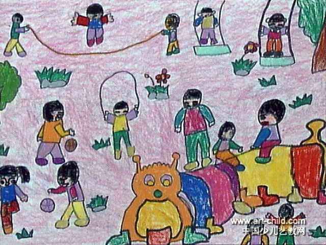 户外活动儿童画2幅