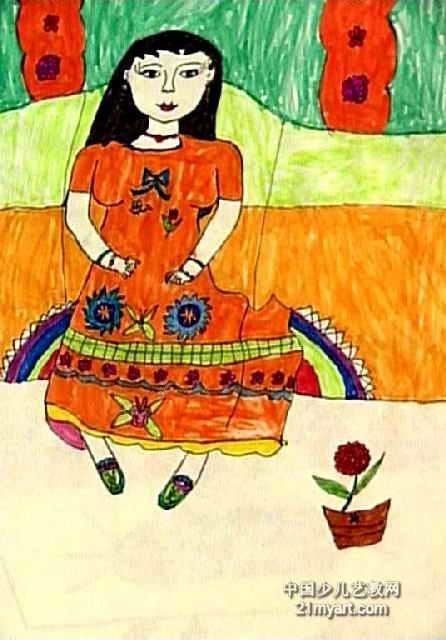 姐姐的花裙子儿童画
