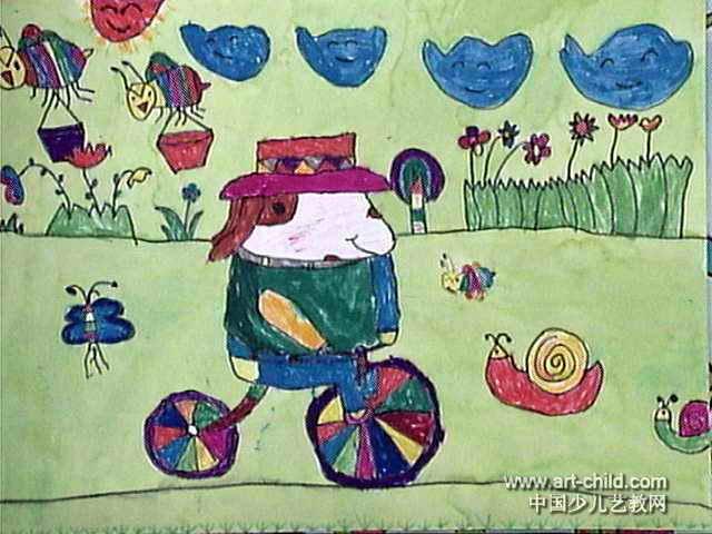 小狗旅行家儿童画作品欣赏